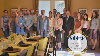 Chancellor May with staff at the Breakfast with the Chancellor Event in August 2018